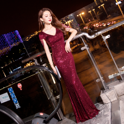 Luxury Sequined Elegant Evening Dress 2020 Sexy V-neack Robe De Soiree Mermaid Dresses Women Vintage Party Formal Long Gown