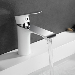 Brass Bathroom Basin Faucet Hot and Cold Mixed Water Bathroom Basin Faucet White/Chrome Plated Single Handle Tap