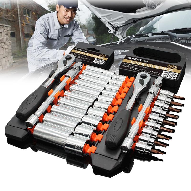 1/4 3/8 1/2 Car Repair Tool Set Screwdriver 12/13/21/22/29Pcs Auto Head Tool Automotive Tools General Ratchet Wrench Tool Set