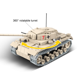 Image 2 - Tanque alemán militar pesado para niños, la técnica de bloques de construcción n. ° 3, bloques para armar tanque WW2, soldado de policía del ejército, juguetes de regalo para manualidades, 100067