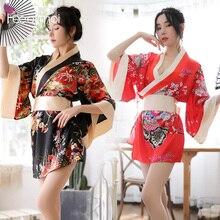 Japanese Sexy Kimono Open Japanese Uniform Printed silk-like fabrics suit for games sex enfermera sexy lenceria cosplay Female