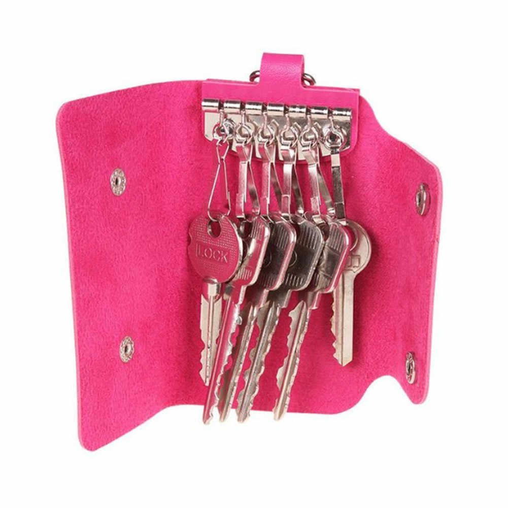 1 PC 女性 PU 革車のキーホルダー財布ピンク小さな財布レディース財布のためのミニキーバッグキーホルダークリップ