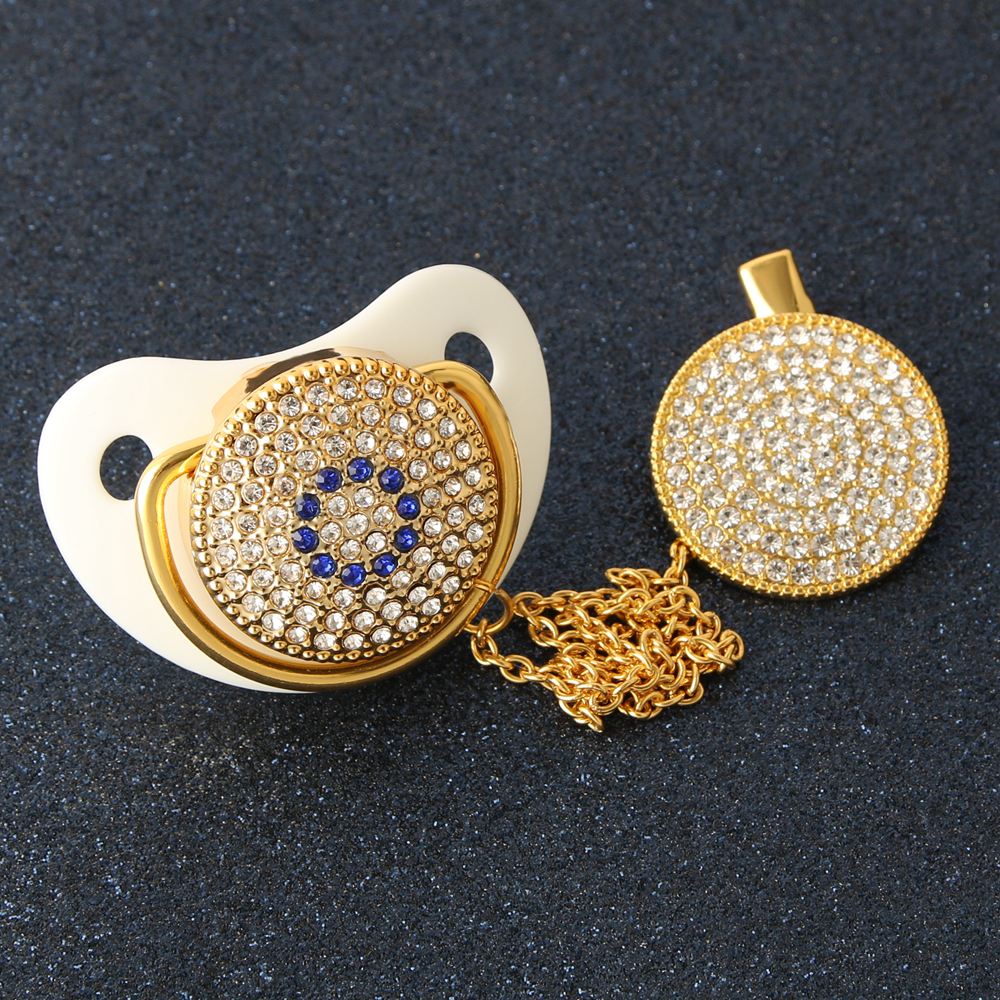 Luxury Baby Bling Pacifier Rhinestone White Crystal Orthodontic Nipple Silicone Soother Baby Dummy Pacifier Clip