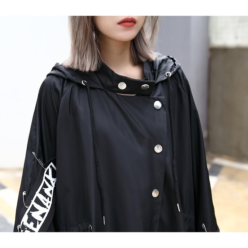 XITAO Spliced Plus Size Black Trench For Women Tide Long Print Streetwear Hoodie Casual Female Wide