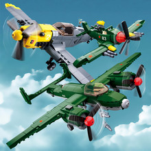 Military WW2  Army Air Forces BF-109 Fighter Soviet Union TU-2 Bomber Plane Building Blocks LegoINGs Bricks Toys Christmas Gifts