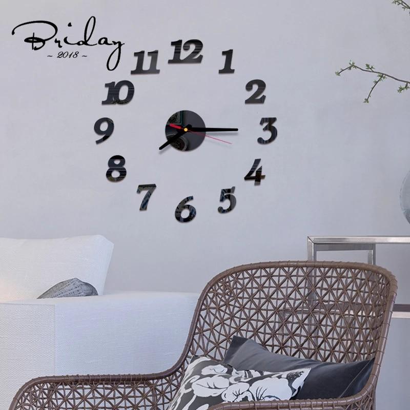 New Diy Wall Clock Acrylic Mirror Digital Home Decoration Modern Style Living Room Kitchen Small Chic Decoration Wall Clocks Aliexpress