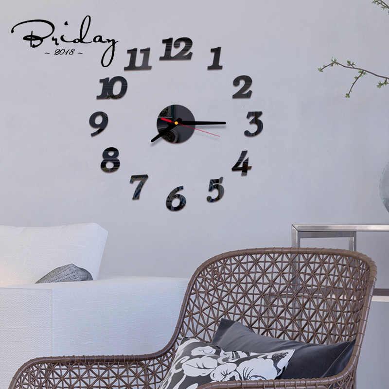 Nowy zegar ścienny DIY lustro akrylowe cyfrowa dekoracja wnętrz nowoczesny styl salon kuchnia mała elegancka dekoracja