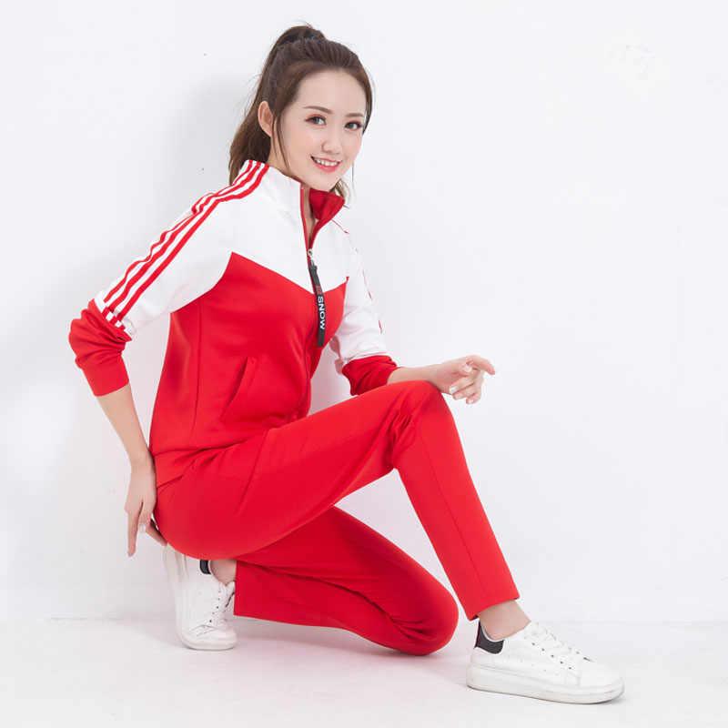 Esercizio set delle donne 2020 nuova primavera e l' autunno patchwork studente di abbigliamento sportivo femminile sottile felpa pant ragazza adolescente 5Xl 002