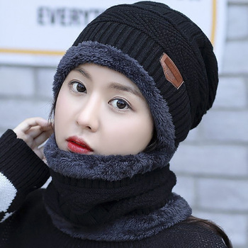 2021 Winter Beanie Hats for Men Women with Thick Fleece Lined Scarf Set Warm Knit Hat Skull Cap Neck Warmer Winter Hat and Scarf image