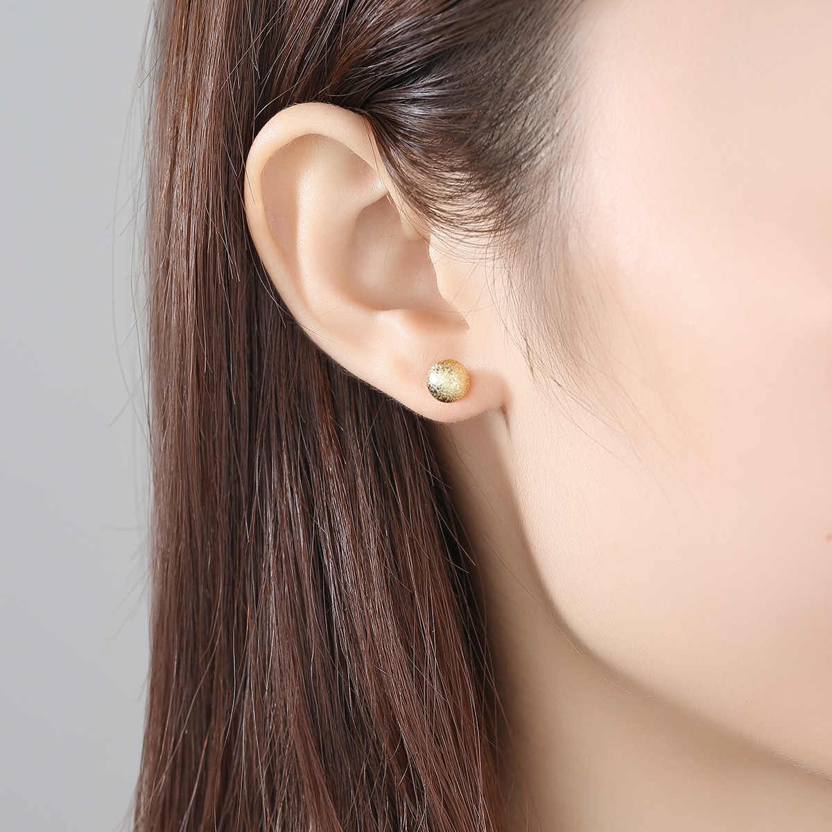 Simple Matte Gold Small Metal Ball Stud