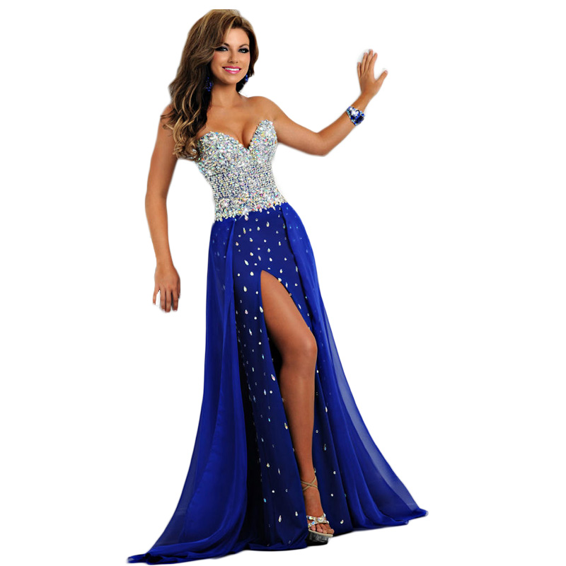 Elegant Plus Evening Luxury Crystal Beading High Slit Long Royal Blue Chiffon Prom Party Gown 2018 Mother Of The Bride Dresses