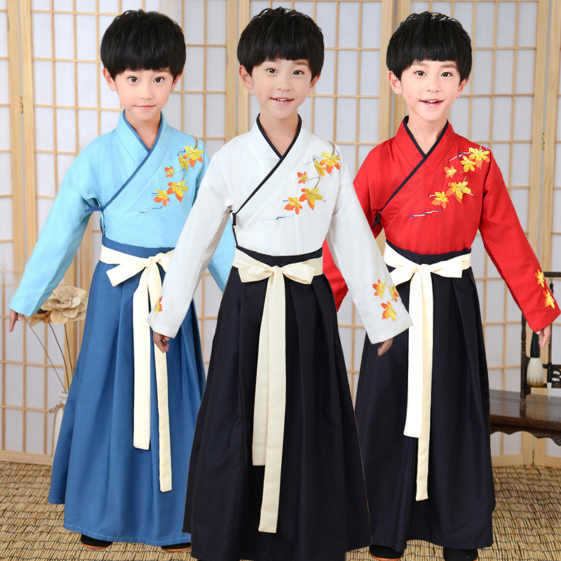 Chinese Style Little Boy Costume Child Baby Spring Autumn Traditional Learning Hanfu Book Boy Costume Three Character Classic