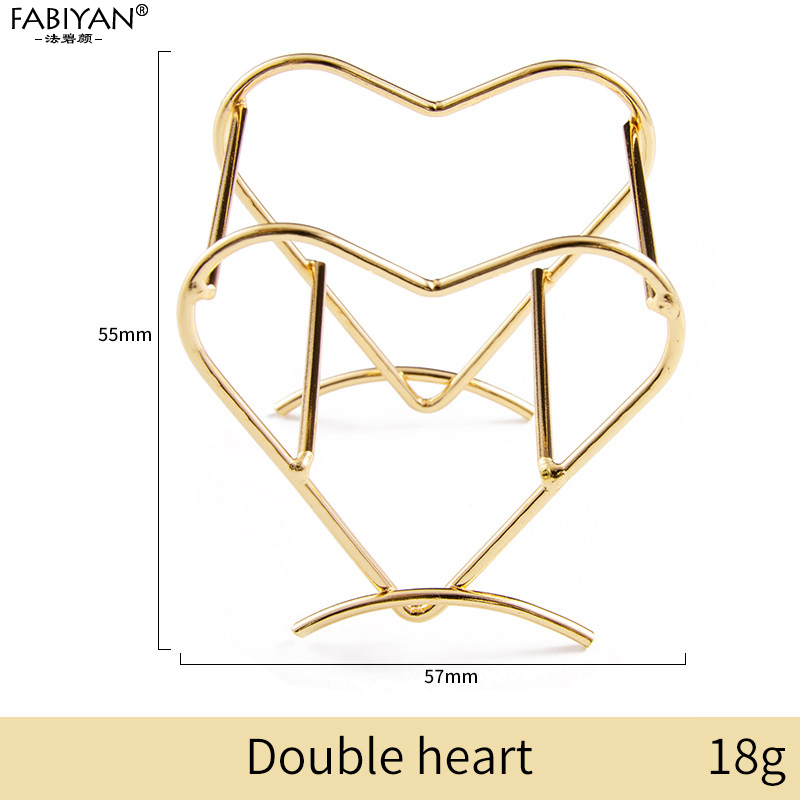 Gold double heart