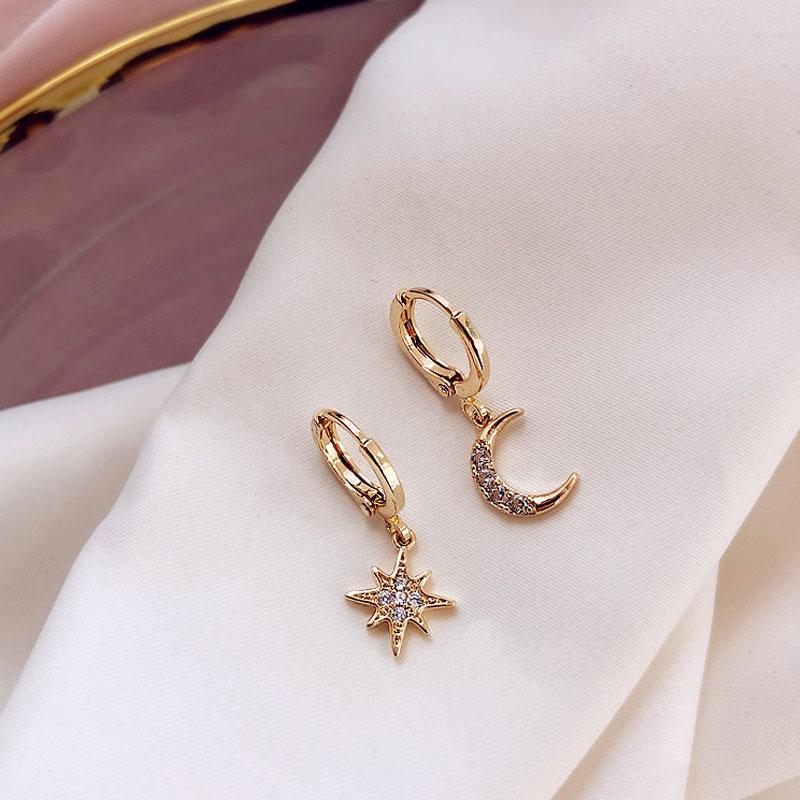 Fashion Classic Geometric Earrings Asymmetric Earrings Star Moon Female Korean Jewelry For Woman Gift