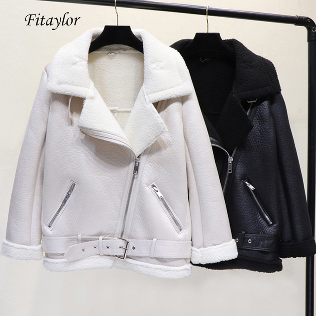 Fitaylor Winter Warm Faux Lamb Leather Jacket Women Thick Zipper Black White Punk Overcoat Loose Faux Lambs Wool Fur Outwear