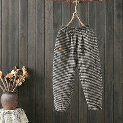 Pantalones Capri de cintura elástica de algodón y lino a cuadros para mujer pantalones Capri de verano 2019 nuevo estilo de literatura étnica y arte Lino Harem Pa