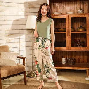 Image 5 - Women Fresh Style 4Pcs Pajama Set Soft Wide Sleeve Loose Cardiagn+Vest+Shorts+Pants Sleepwear Suit Ladies Homewear Casual Wear