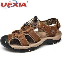 Uexia footawear masculino sapatos de couro genuíno dos homens sandálias de verão sandálias de praia moda ao ar livre tênis casuais tamanho 48