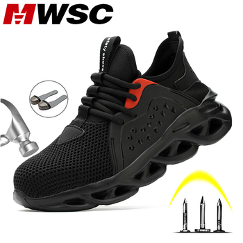 MWSC Summer Breathable Safety Work Shoes For Men Steel Toe Cap Work Shoes Anti-smashing Construction Working Safety Sneakers Men