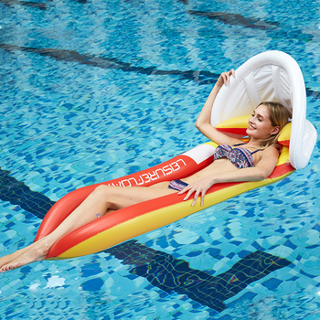 Inflatable Hammock Floatings Row Swimming Bed Foldable Portable Inflatable Back Sunshade Swimming Pool Middle Mesh Water Chair 5