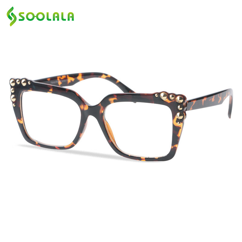 SOOLALA Womens Reading Glasses Rivet Big Full Frame Readers Reading Glass Eyewear Men Presbyopic Glasses +0.5 To 4.0