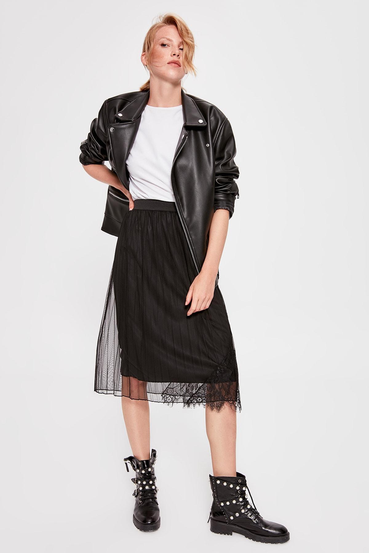 Trendyol Black Piliseli Knitted Skirt TWOAW20ET0284