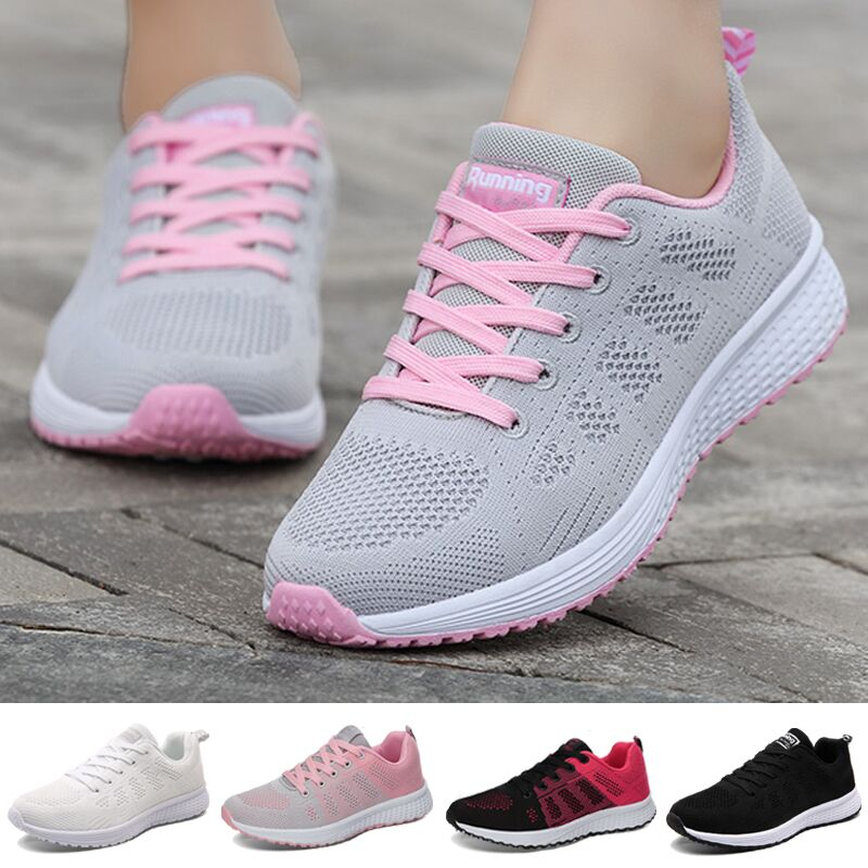 Sport Shoes For Women Tennis Shoes 2020 Lace-Up Fashion Breathable Mesh Flat Sneakers Casual Shoes Calzado Deportivo Mujer 1