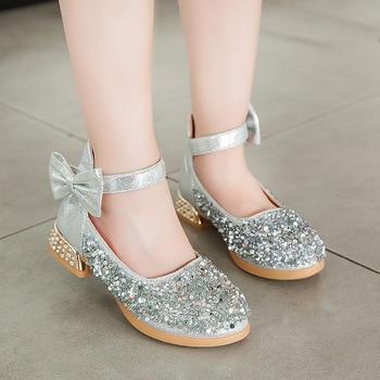 Skoex 2020 חדש ילדי בנות אופנה מזדמן נסיכת נעלי גליטר קשתות בלרינה להחליק על גדול ילדי מסיבת חתונה נעל