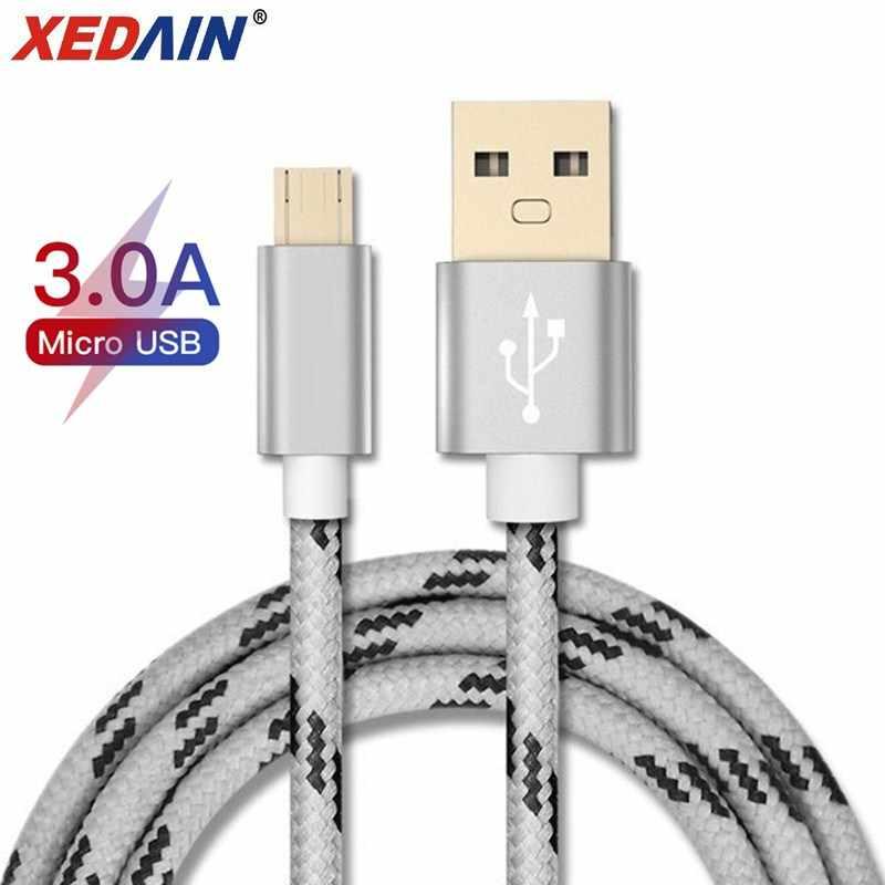 المصغّر USB كابل شحن سريع USB كابل بيانات نايلون مزامنة الحبل 1 متر/2 متر لسامسونج شاومي هواوي Redmi نوت 4 5 أندرويد مايكرو كابل يو اس بي