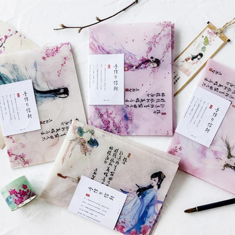 3 Pcs/set Vintage Chinese Style Ancient Beauty Sulfuric Acid Paper Envelopes Stationery Office School Invitation Envelopes
