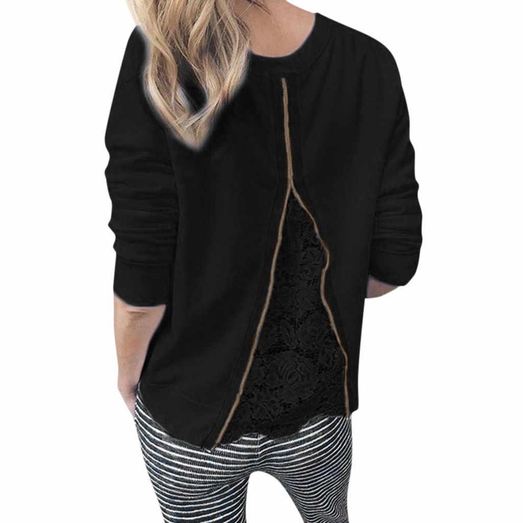 Blusa de mujer Venta caliente cuello redondo manga larga de encaje Patchwork sudadera blusa Top mujer vestido 2019 primavera otoño 26