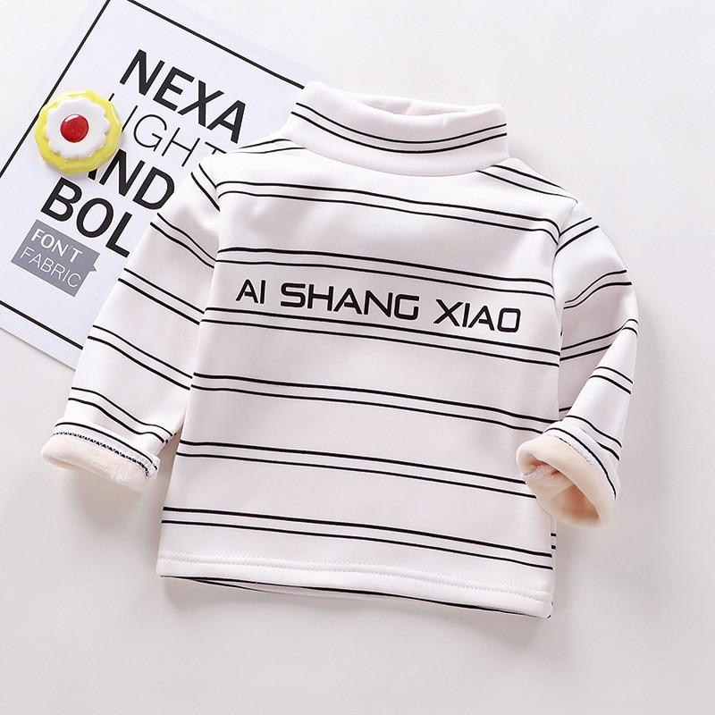 Autumn Winter Warm Solid Polyester Clothes Baby Boys Girls T Shirt Toddler Kids Long Sleeve T-shirt Children Underwear Clothing 2