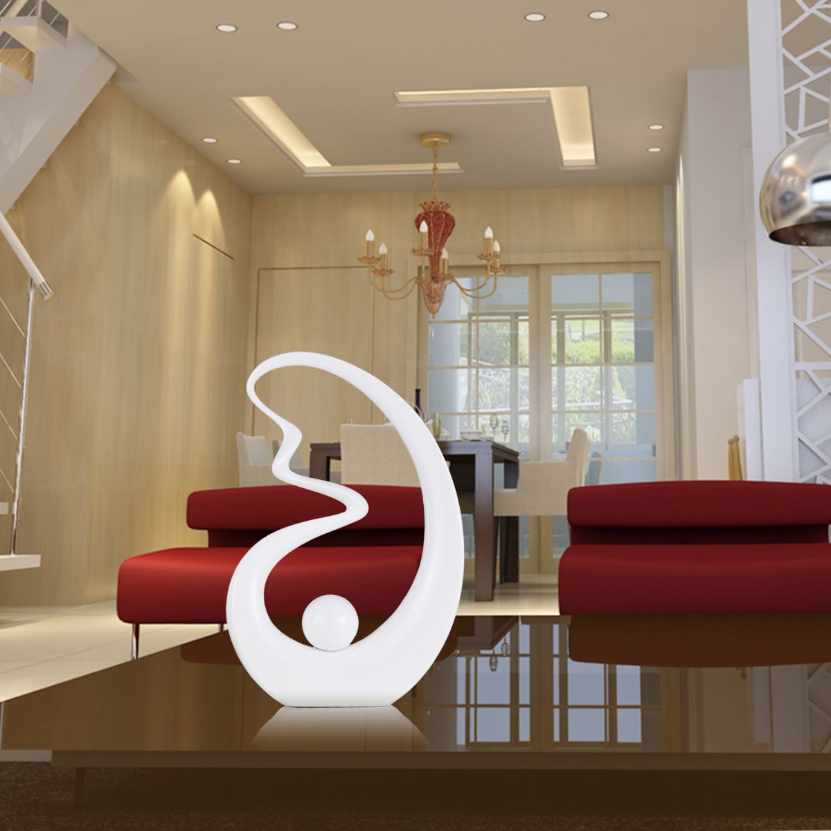 Strength Fiberglass Sculpture Modern Sculpture Original Design Elegent Modeling Pure White Artwork For Home Office