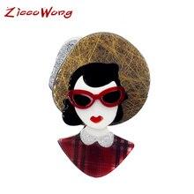 Женская акриловая брошь SexeMara, коричневая брошь в форме шляпы с красными очками, украшение на лацкан