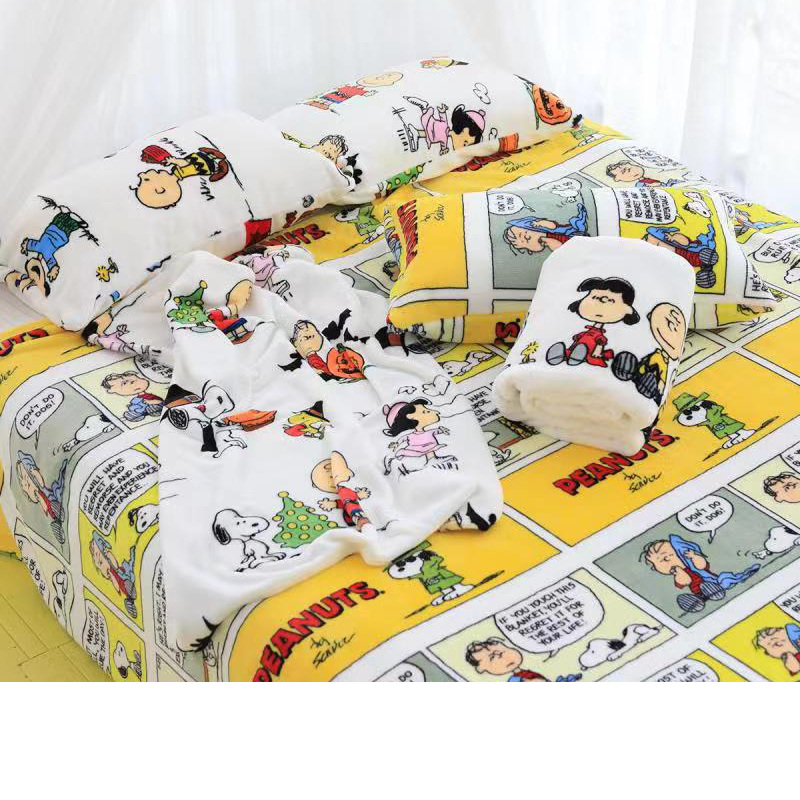Snoopy Plush Blanket Lovely Snoopy Printed Quilt Cartoon Flannel Blanket Pillow Case Girly Heart Bedding Kawaii Gift For Girl