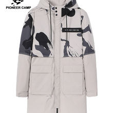 Winter Jackets Men Parkas Hooded Print Black-Color Fashion-Design Long Casual Khaki Pioneer