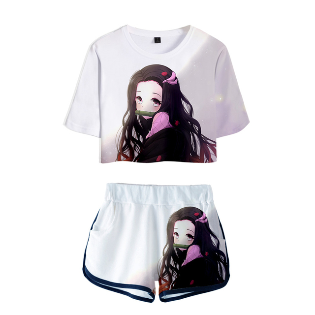 Demon Slayer 3D Exposed Navel T-shirts shorts two-piece sets