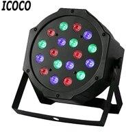 Icoco profissional conduziu luzes de palco 18 led rgb par dmx efeito de iluminação de palco dmx512 master-slave plana para dj disco party ktv novo