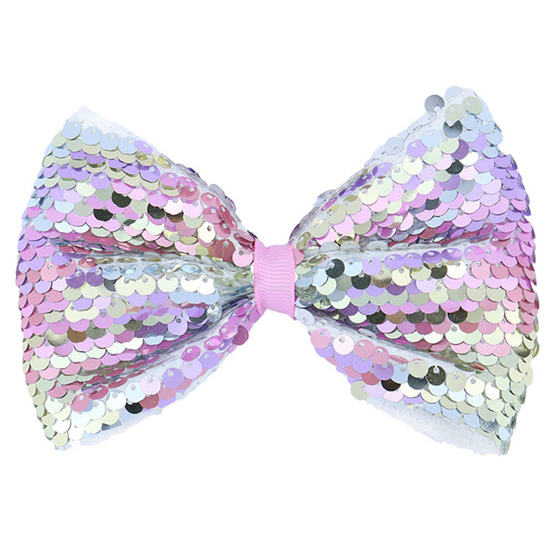 1Piece 5 Inch Glitter Hair Bow Clips for Kids Sequin Hair Bows Barrette Ribbon Hair Clips Hairpins Bowknot Baby Girls Gifts