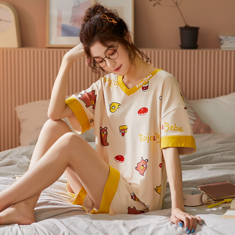 BZEL New Sleepwear Sets For Women Two Piece Set Pyjamas Yellow Lovely Pijama Ladies Cartoon Home Wear Short Cotton Nightwear XXL