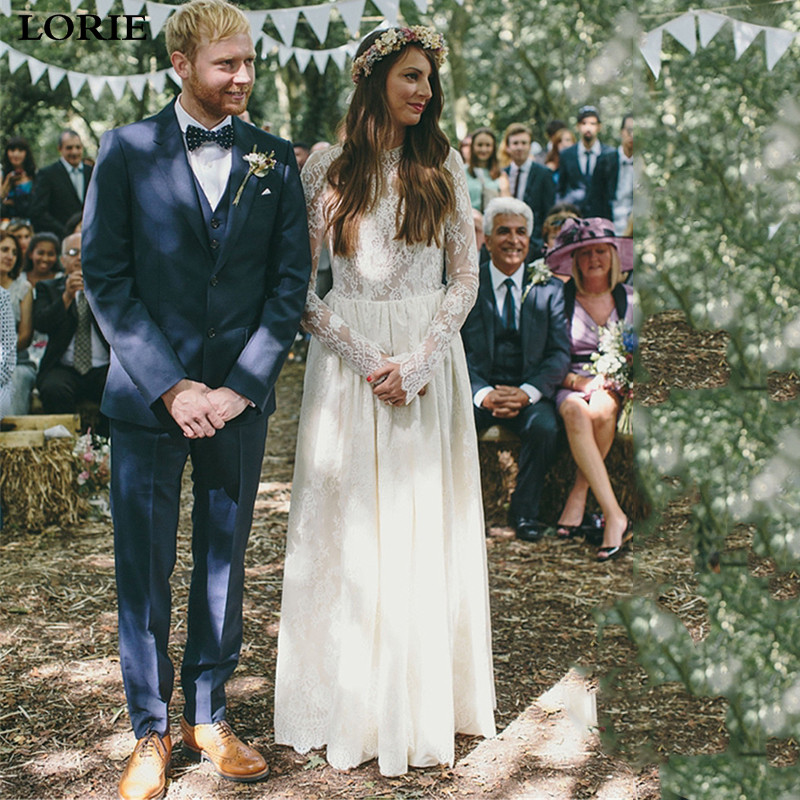 LORIE Lace Boho Wedding Dress Long Sleeve Bridal Dresses  Sexy Open Back Vestidos De Novia Wedding Gowns