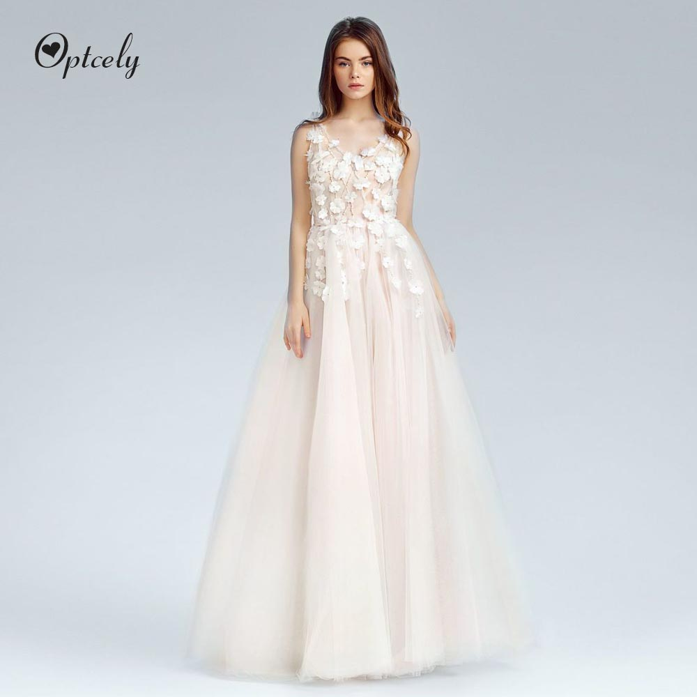 Optcely Elegant V-Neck Backless A-Line Wedding Dresses 2019 Train Appliques Beaded Sleeveless Sweep Train Bridal Gowns Customize