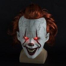 Светодиодный маска для Хэллоуина, тушь для ресниц, латексные маски страшные, смайлик, Джокер, клоун, Стивен Кингс, страшная маска Pennywise, неоновое свечение