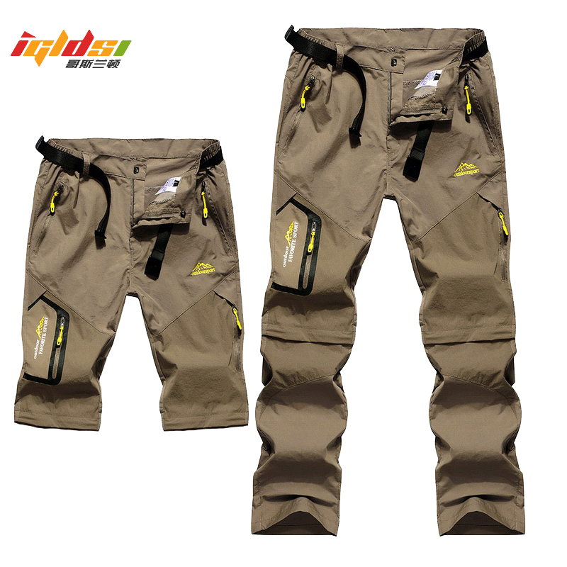 Men's Stretch Quick Dry Cargo Pants Removable Breathable Pants Women's OutdoorHiking Trekking Tactical Pants Long Trousers 6XL