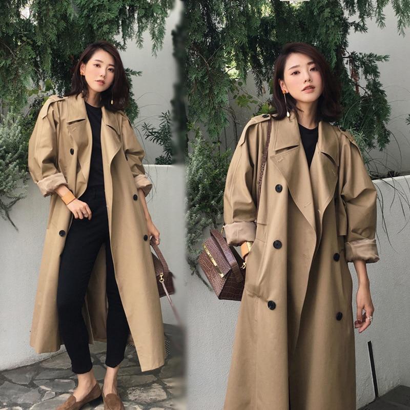 Élégant grande taille deuxtwinstyle Double boutonnage Long Trench Coat pour les femmes 2019 automne avec ceinture Chic dames coupe-vent décontracté