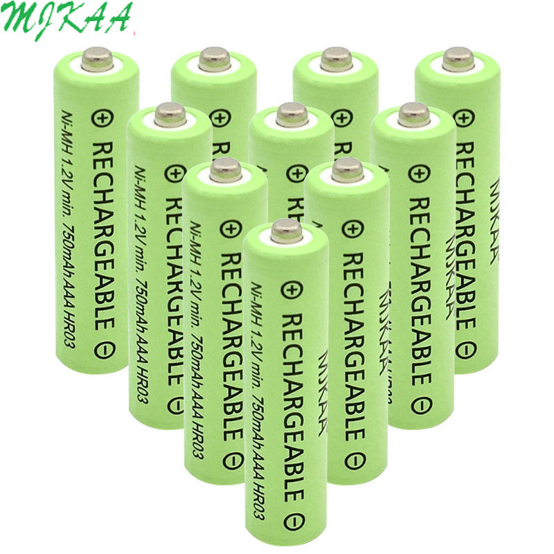 MJKAA <font><b>750mAh</b></font> 1.2V Ni-MH <font><b>AAA</b></font> Rechargeable <font><b>Battery</b></font> High Performance <font><b>Batteries</b></font> for Remote Controls Radios Torches Clocks Toys image