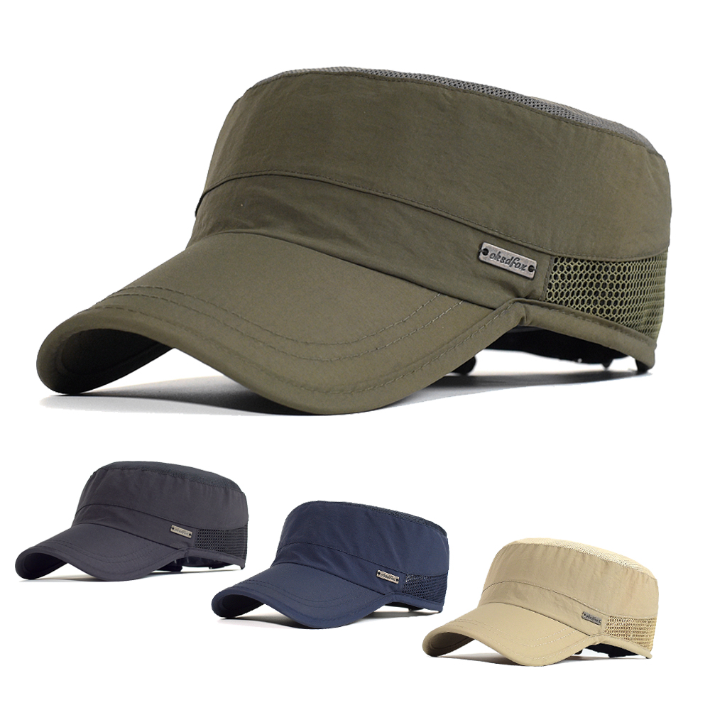 Summer Mesh Outdoor Sport Quick Drying Military Caps Men Breathable Cadet Army Cap Flat Top Hat Cycling Running Cap Baseball Cap