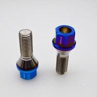 고성능 경량 강한 번트 블루 컬러 60도 콘 Gr.5 titanium 합금 러그 볼트 M12 * 1.5*28mm