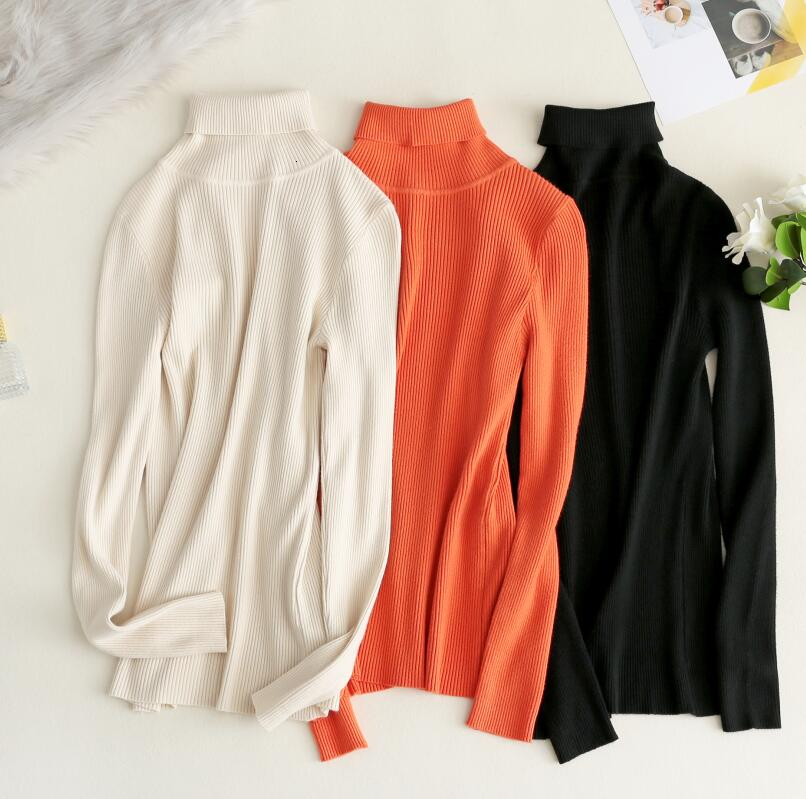 2019 Autumn Winter Women Knitted Turtleneck Sweater Orange Casual Soft Slim Basic Sweater Sweet Pullovers
