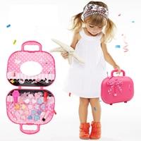 Набор для макияжа принцессы для девочек, безопасная Нетоксичная детская дорожная косметичка для макияжа для девочек, игрушечный костюм для...